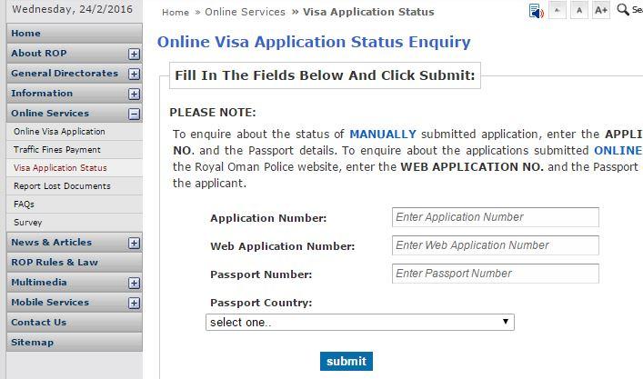 Oman visa status online check