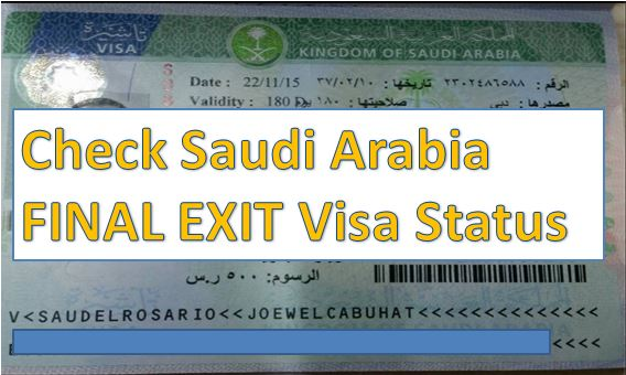 Check Saudi Arabia FINAL EXIT Visa Status