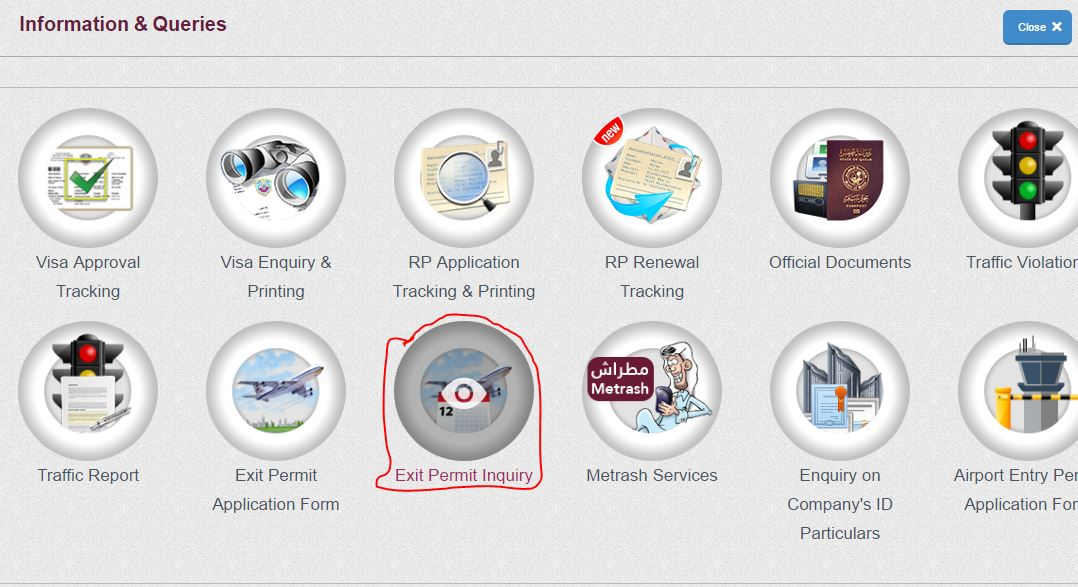 exit permit status check online