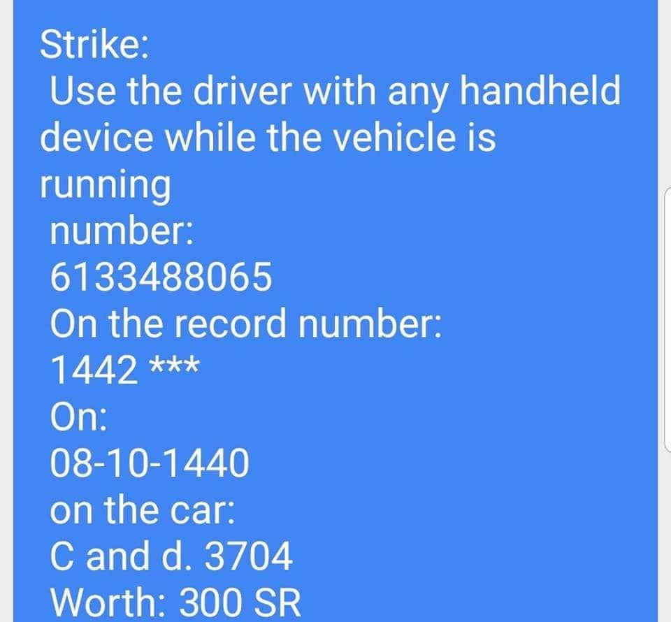 traffic fine for using mobile while driving in ksa