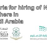 Criteria for hiring of New Teachers in Saudi Arabia
