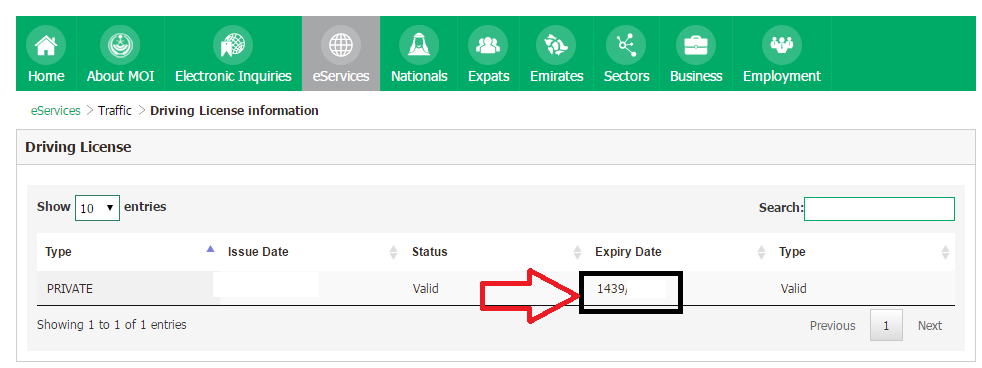 Expiry Date of Saudi Driving License Online