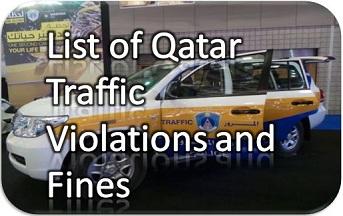 List of 113 Qatar Traffic Violations and Fines in Qatari Riyal