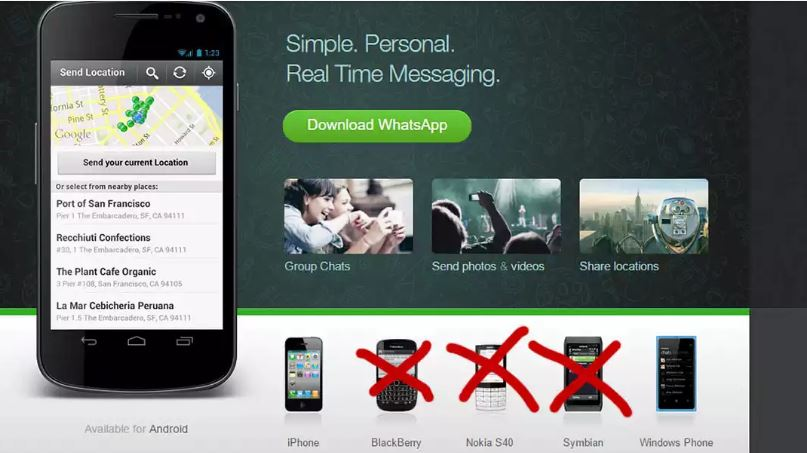 WhatsApp Stop Working For BlackBerry, Windows, Symbian platforms by 2016 End