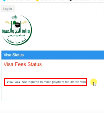 check umrah visa fee sar 2000