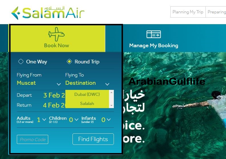 SalamAir Online Check In Ticket Booking