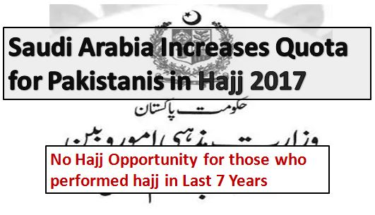 Hajj Quota Increased For Pakistan in 2017