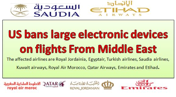 US bans large electronic devices on flights From Middle East