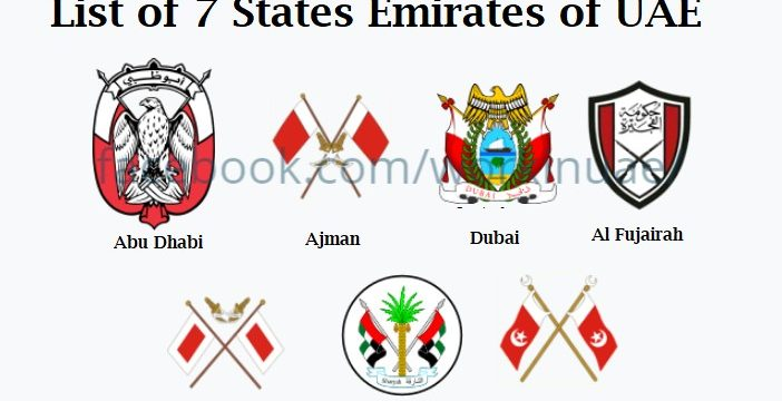List of 7 States Emirates of United Arab Emirates