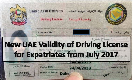 UAE Validity of Driving License for Expatriates