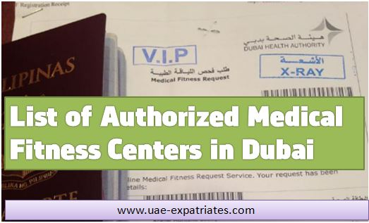 List of Authorized Medical Fitness Centers in Dubai