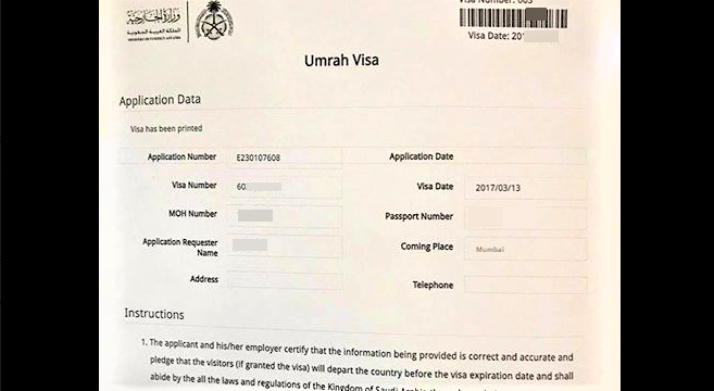 Apply Umrah Visa from India Procedure Fees and Costs